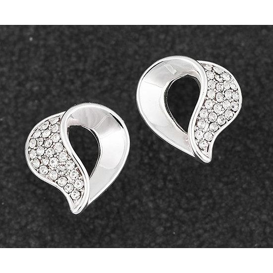 Twisted Heart Silver Plated Stud Earrings