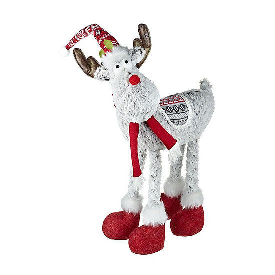 Large Grey and Red Standing Furry Reindeer