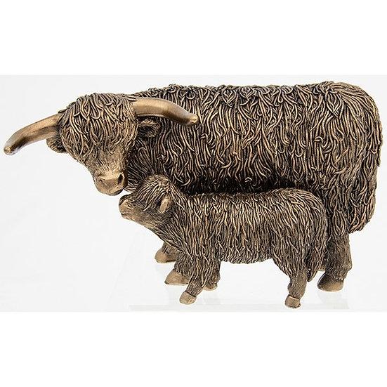 Bronze Effect Highland Cow & Calf Ornament