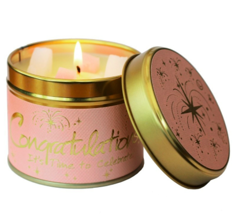 Lily Flame Congratulations Tin Candle