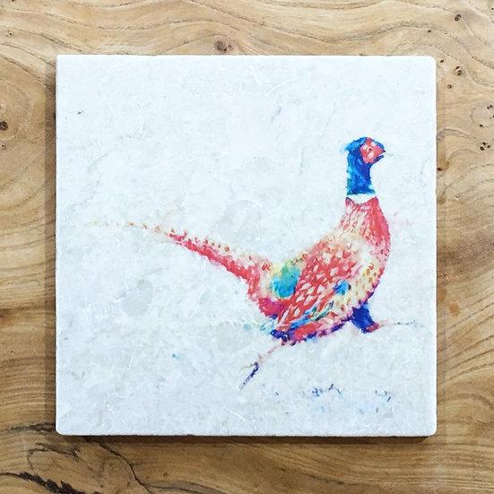 Running Pheasant Marble Trivet