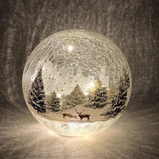 LED Festive scene Crackle Ball 19cm