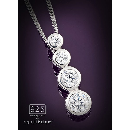 Sterling 925 Silver Hanging Cubic Zirconia Necklace