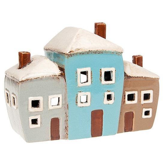 Village Pottery 3 Houses Tealight Holder
