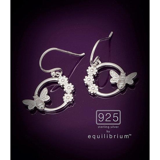 Sterling 925 Silver Flower & Bee Earrings