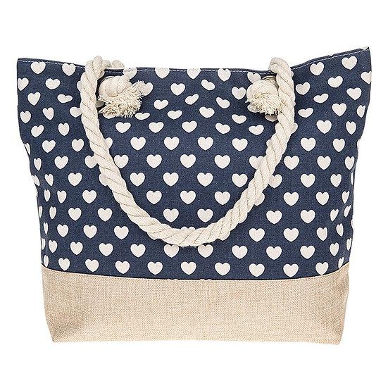 Hearts Design Blue Tote Bag