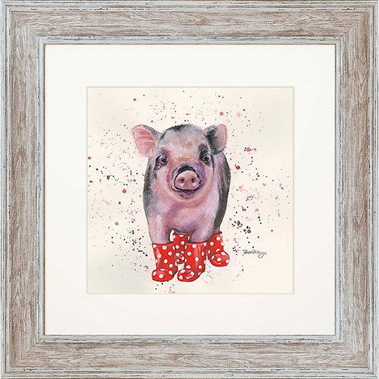 Pamela Pig 48cm Square Framed Print