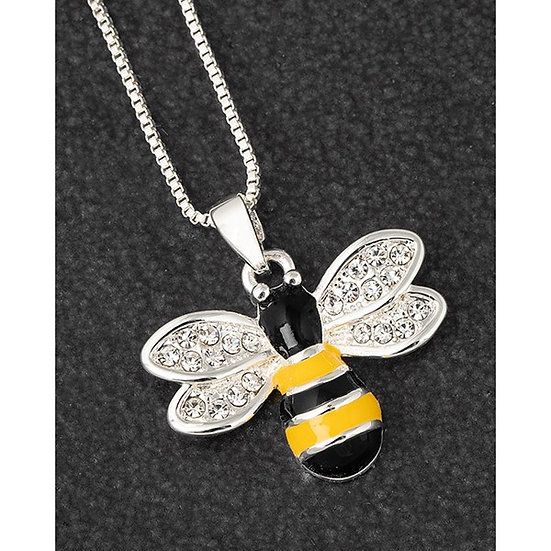Silver Plated Hand Painted Bumble Bee Necklace