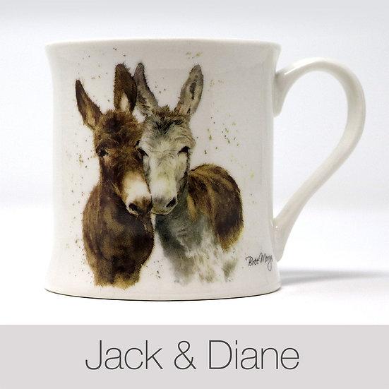Jack and Diane Donkeys China Mug