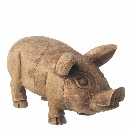 Natural Wood Pig Ornament