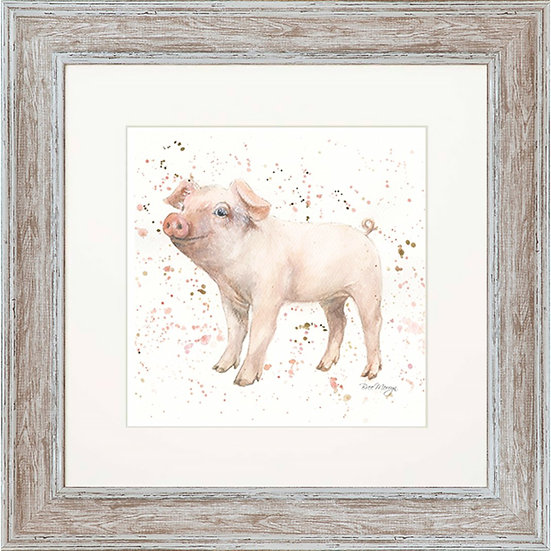 Pearl Pig 48cm Square Framed Print