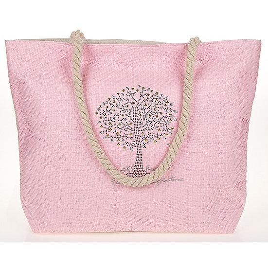 Tree Of Life Studded Tote Bag - Pink