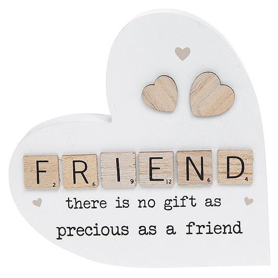 Scrabble Sentiment Standing Heart - Friend