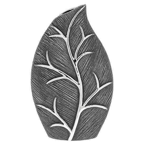 Gunmetal Leaf Design Wide Vase