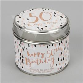 50th Birthday Tin Candle