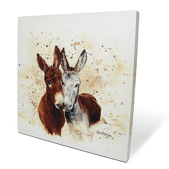 Jack & Diane Donkeys 40cm Box Canvas
