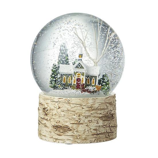 House Scene Snowglobe with Birch Base