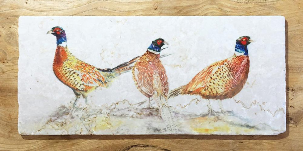 Pheasant Bouquet Marble Large Sharing Board