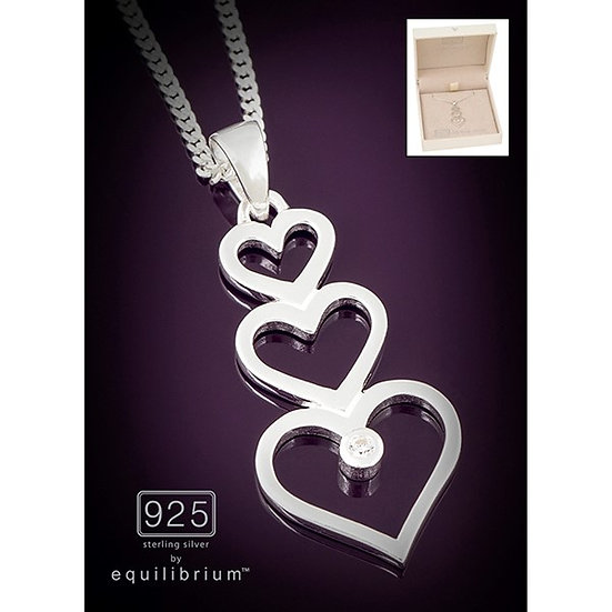 Sterling 925 Silver Necklace -Triple Hearts
