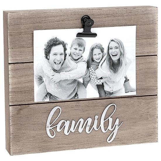 'Family' Wood Block clip photo frame