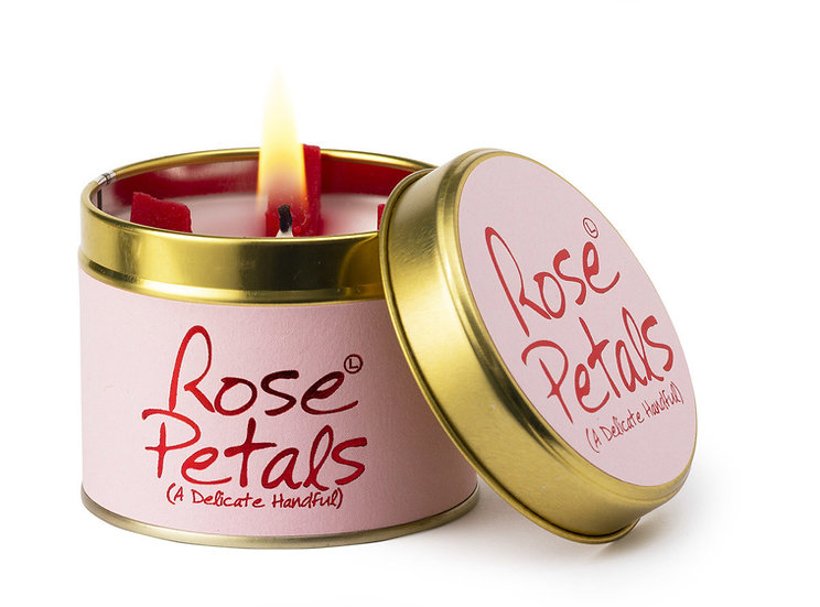 Lily Flame Rose Petals Tin Candle