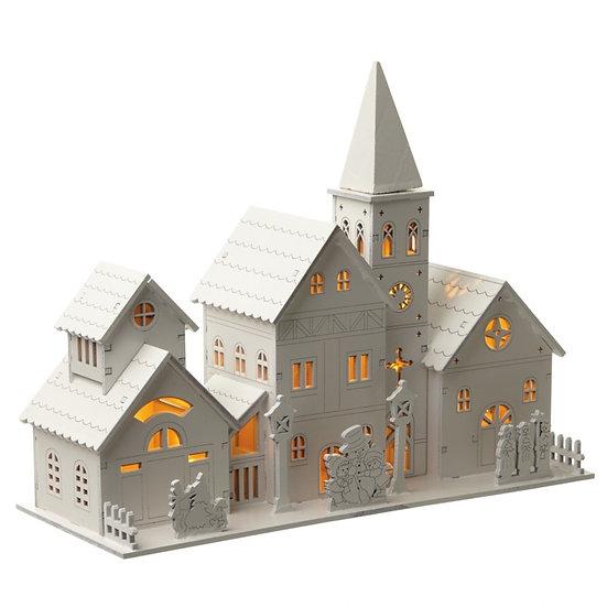 LED Wooden Church Scene