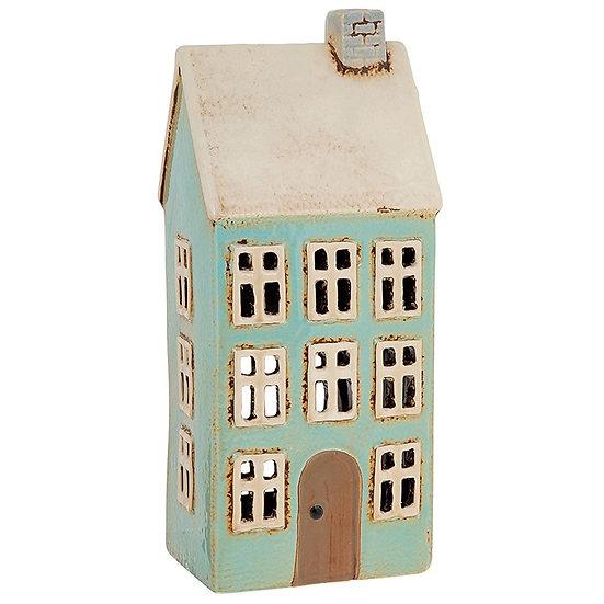 Tall Blue House Tea Light Holder
