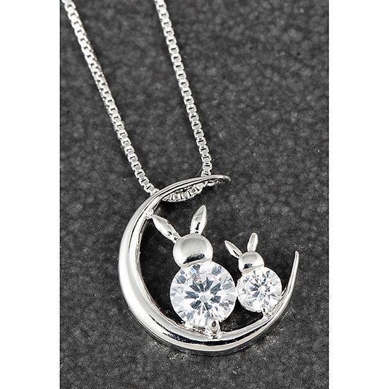 'Bunnies On The Moon' Silver Plated Necklace