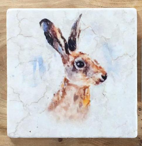 Hare Portrait Marble Trivet