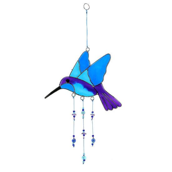 Blue and Purple Hummingbird Suncatcher