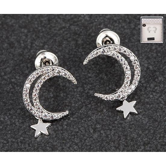 Moon & Stars Silver Plated Earrings