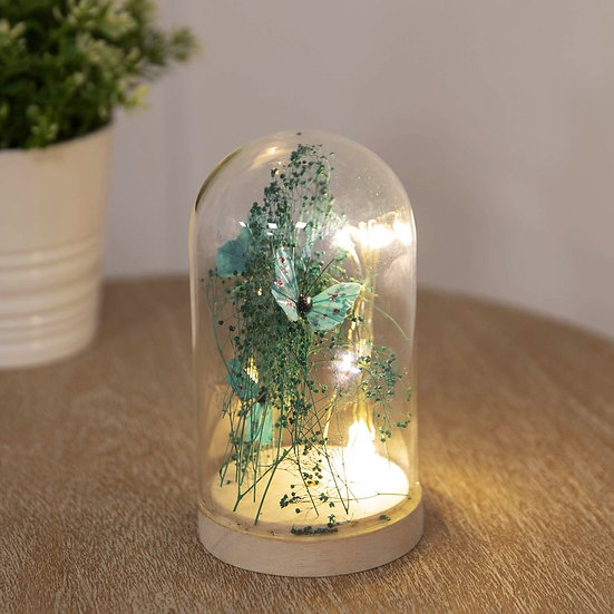 LED Light Up Glass Dome - Teal Butterfly