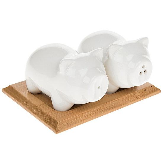 White Bamboo Pig Salt & Pepper Set
