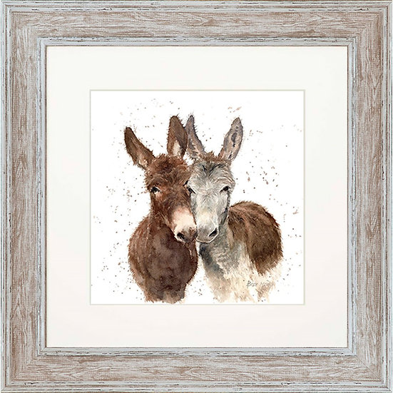 Jack & Diane Donkeys 48cm Square Framed Print