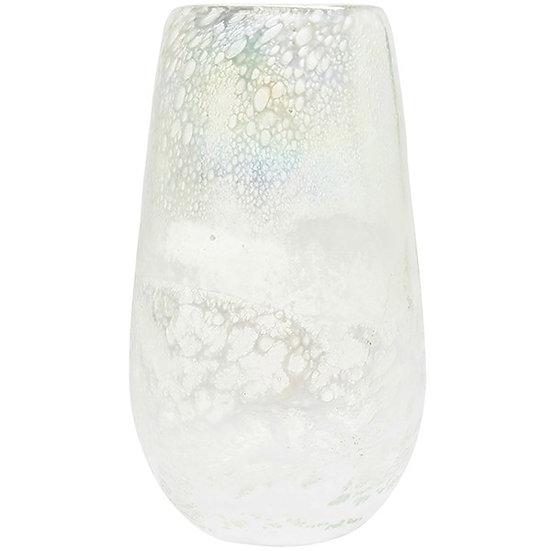 White Crackle Glass Vase (40cm)