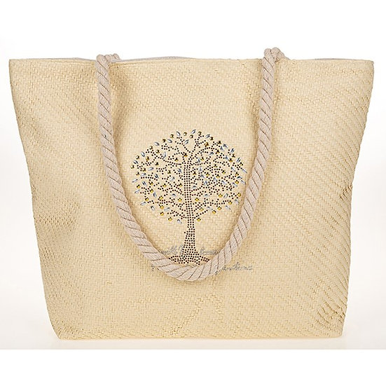 Tree Of Life Studded Tote Bag- Cream