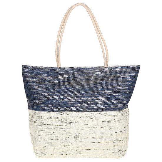 Blue & Cream Two Tone Metallic Tote Bag