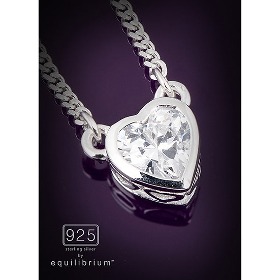 Sterling 925 Silver Cubic Zirconia Solitaire Necklace