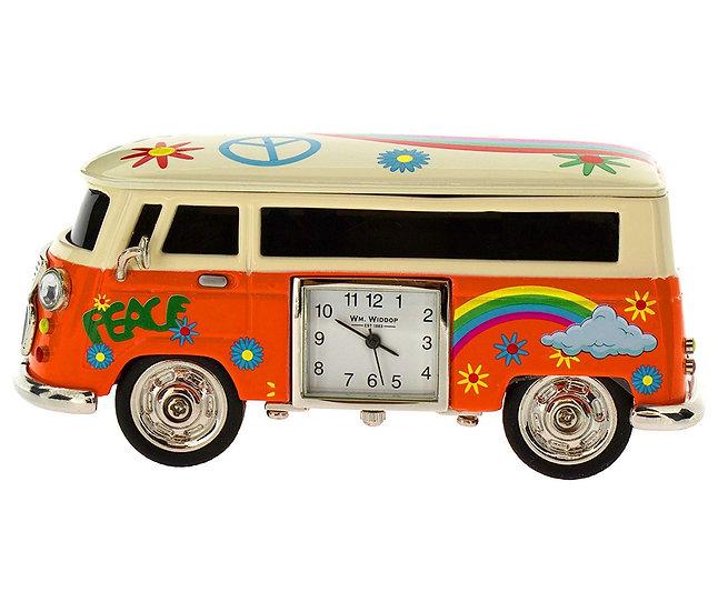 Orange Camper Van Miniature Desk Clock