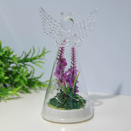 LED Light Up Glass Angel with Artificial Flowers