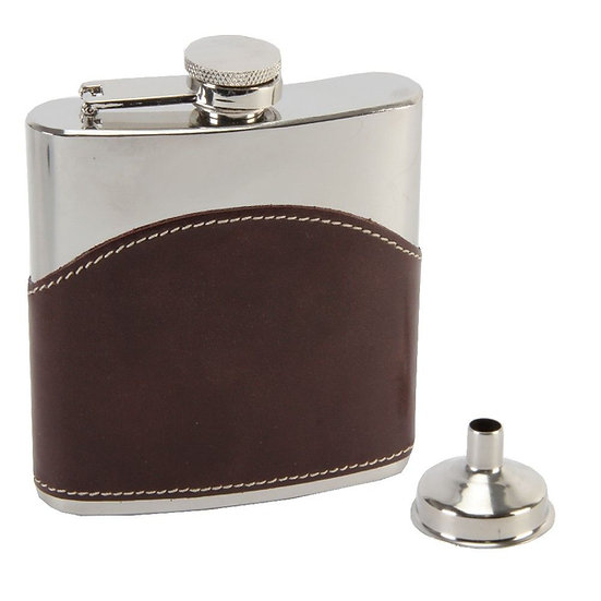 Brown Leather Hip Flask with Funnel