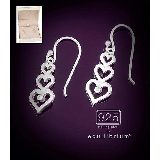 Sterling 925 Silver Triple Hearts Earrings