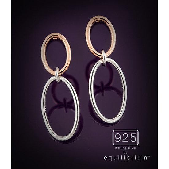 Sterling 925 Silver Two Tone Ovals Earrings