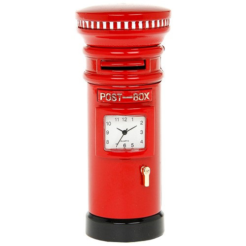 Red Post Box Miniature Desk Clock