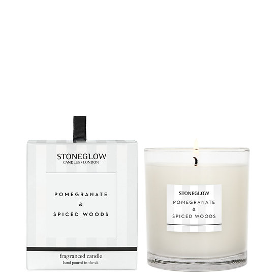 Stoneglow Pomegranate and Spiced Woods Tumbler Candle