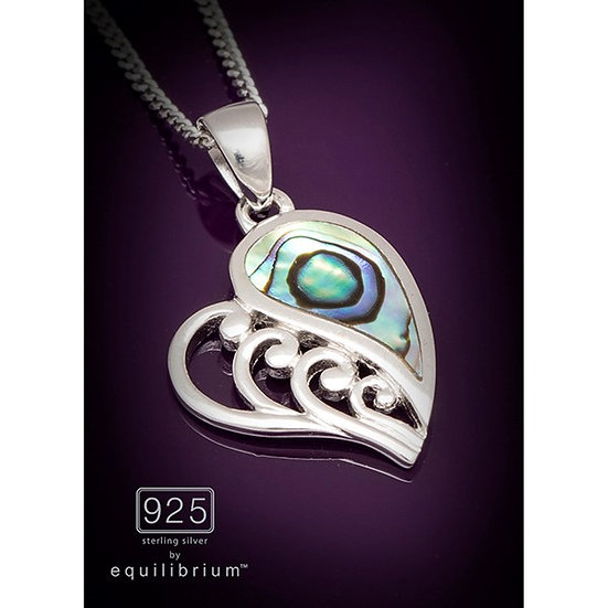 Sterling 925 Silver Paua Shell Heart Necklace