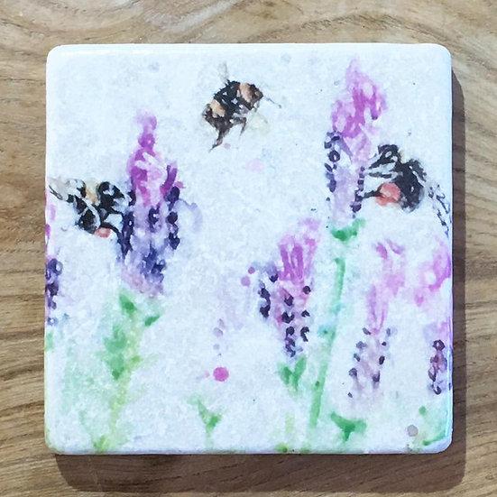 Beeing Around Lavender Marble Coaster