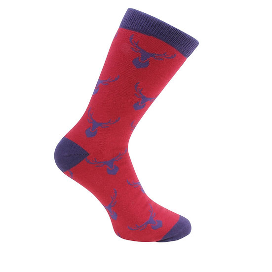 David Aster Mens cotton socks-Stags