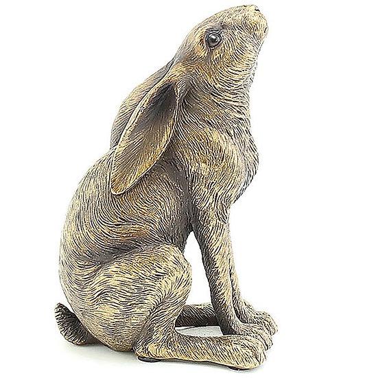 Bronze Effect Moon Gazing Hare Ornament