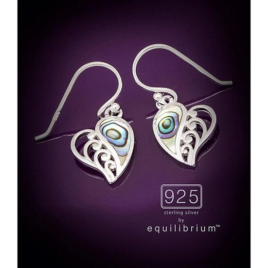 Sterling 925 Silver Paua Shell Heart Earrings